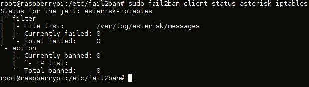 fail2ban - jail asterisk status