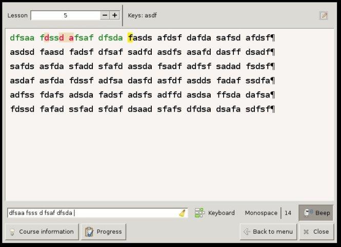 Klavaro - leçon 5 - main gauche lettes asfd (sur qwerty) qsdf (sur azerty)