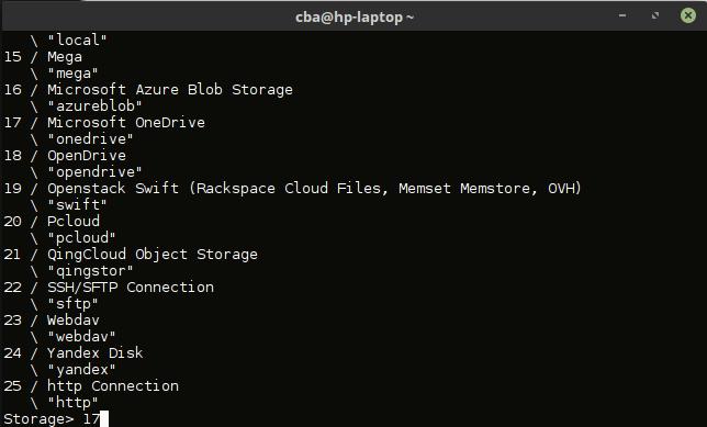 rclone-accéder OneDrive sous Linux - type 17