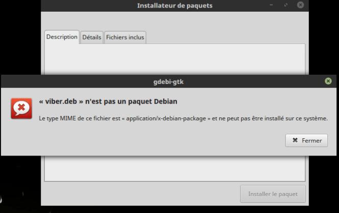 Viber sous Linux - Erreur installation deb package