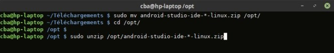 Décompression d'Android Studio