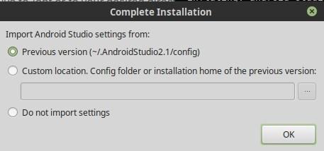 Android Studio - importer votre configuration