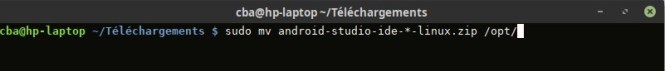 Déplacement d'Android Studio dans /opt