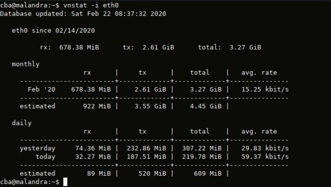 vnstat - vérifier le traffic d'une interface réseau