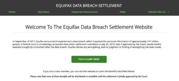 Screen capture of Equifax's data breach settlement website