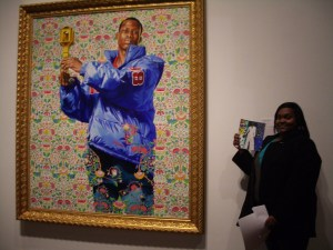 Desha B. with her response in front of her chosen work: Kehinde Wiley, St. Dionysus, 2006. Gift of the African American Art Alliance in honor of their 15th Anniversary, with additional support from Valerie A. Childrey, MD, and Sande Robinson