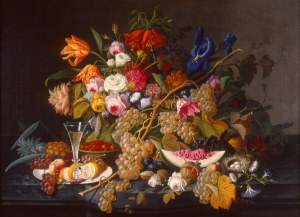 Severin Roesen (American, born Germany, ca. 1815-1872).  Still Life.  ca. 1852.  Oil on canvas.  Milwaukee Art Museum, gift of Anita Vogel Hinrichs in memory of Ferdinand Hinrichs, M1988.133. Photo credit: Dedra Walls.