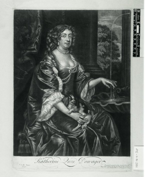 Published by Thomas Bowles Jr. (after Sir Peter Lely), Catherine of Braganza, ca. 1684. Mezzotint, 13 3/8 in. x 9 7/8 in. © National Portrait Gallery, London.