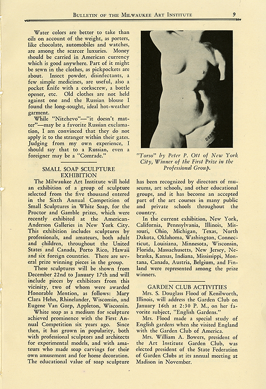 Milwaukee Art Institute Bulletin. January 1, 1931. Vol. 4, No. 5, Page 9