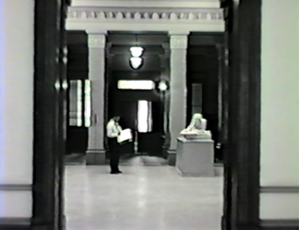 Film still: View in to the Layton Art Gallery's sculpture court, circa 1957. Milwaukee Art Museum, Institutional Archives.