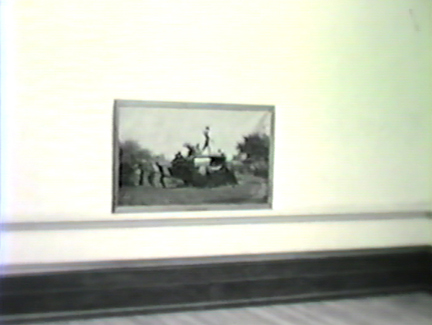 Film still: Eastman Johnson's The Old Stagecoach in the Layton Art Gallery, circa 1957. Milwaukee Art Museum, Institutional Archives.