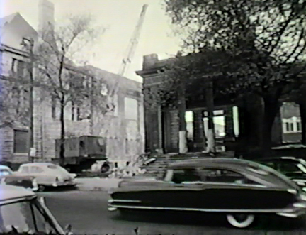 Film still: Demolished exterior of the Layton Art Gallery, circa 1957. Milwaukee Art Museum, Institutional Archives.