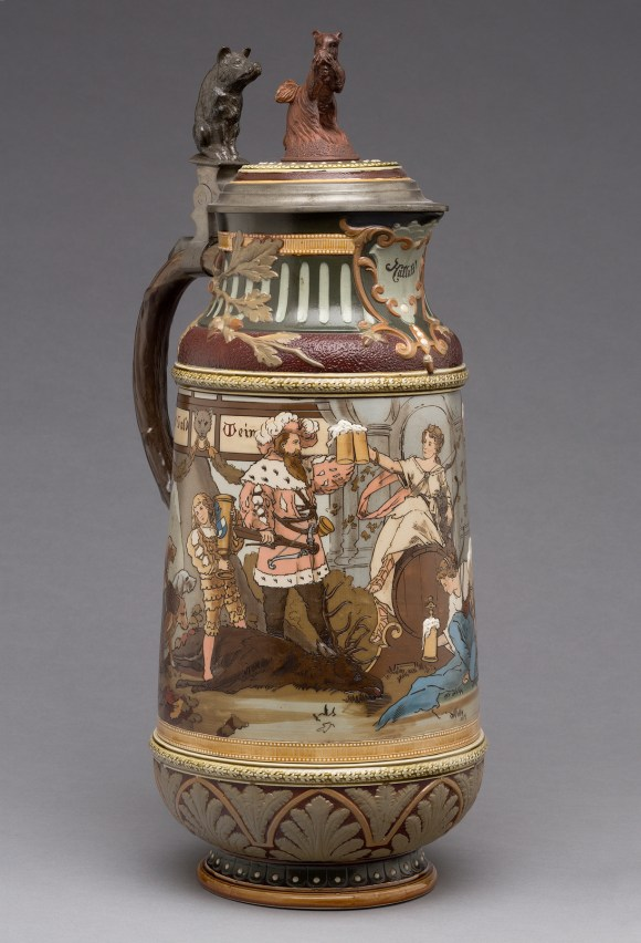 "Villeroy & Boch (Mettlach, Saarland, Germany, established 1836). ""2205"" Covered Pitcher, 1897. Stoneware, with colored slip and glaze decoration, gilding, and pewter. Milwaukee Art Museum, Gift of the René von Schleinitz Foundation M1962.666. Photo credit: John R. Glembin."