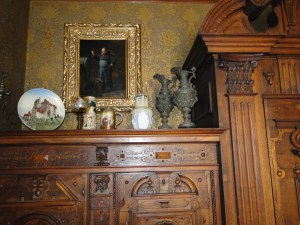 Mettlach and other German decorative arts on top of cabinets in Captain Pabst's study.  Photo courtesy of Pabst Mansion.