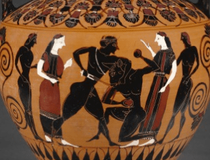 Theseus battling the Minotaur, a detail from a Attic Black-Figure Neck Amphora dated about 550 B.C. Attributed to Group E (Workshop of Exekias) (Athens, Greece, active 560-540 B.C.). Terracotta. The J. Paul Getty Museum 85.AE.376. Digital image courtesy of the Getty's Open Content Program.