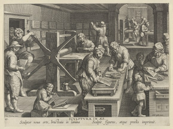Jan Collaert I (Netherlandish, Antwerp ca. 1530–1581 Antwerp) after Jan van der Straet, called Stradanus (Netherlandish, Bruges 1523–1605 Florence), New Inventions of Modern Times [Nova Reperta], The Invention of Copper Engraving, plate 19, ca. 1600. Engraving. The Metrpolitan Museum of Art, The Elisha Whittelsey Collection, The Elisha Whittelsey Fund, 1949.