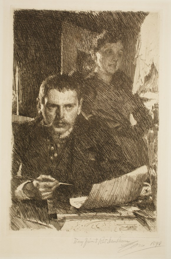 Anders Leonard Zorn (Swedish, 1860–1920), Zorn and his Wife, 1890. Etching, possibly drypoint, and graphite. Milwaukee Art Museum, Gertrude Nunnemacher Schuchardt Collection, presented by William H. Schuchardt M1924.141. Photo credit: John R. Glembin