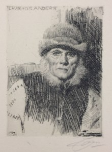 Anders Leonard Zorn (Swedish, 1860–1920), Dalecarlian Peasant (Lavards Anders), 1919. Etching. UWM Art Collection, gift of Emile H. Mathis II. Photo credit: Christa Story.