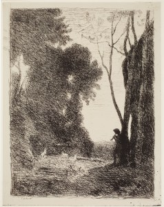 Jean-Baptiste-Camille Corot (French, 1796–1875), The Little Shepherd, 2nd Plate (Le petit berger, 2e Planche), plate 7 of 40 from the portfolio Forty Clichés Verre (Quarante Clichés-Glace), 1854, published 1921. Cliché-verre. Milwaukee Art Museum, Gertrude Nunnemacher Schuchardt Collection, presented by William H. Schuchardt M1924.17. Photo credit: John R. Glembin.