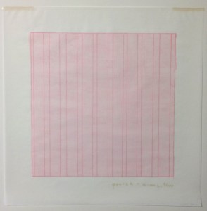Agnes Martin (American, b. Canada, 1912–2004), Praise, from the Rubber Stamp Portfolio, 1976, published 1977. Rubber stamp print. Sheet: 11 × 11 in. (27.94 × 27.94 cm); image: 8 × 8 in. (20.32 × 20.32 cm). Gift of Virginia M. and J. Thomas Maher III M1994.263.9. © Artists Rights Society (ARS), New York.