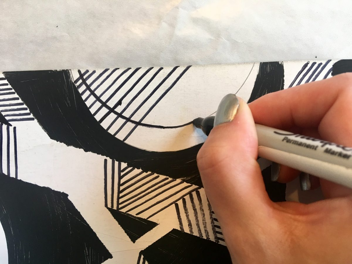 Tracing pencil circle with a black sharpie