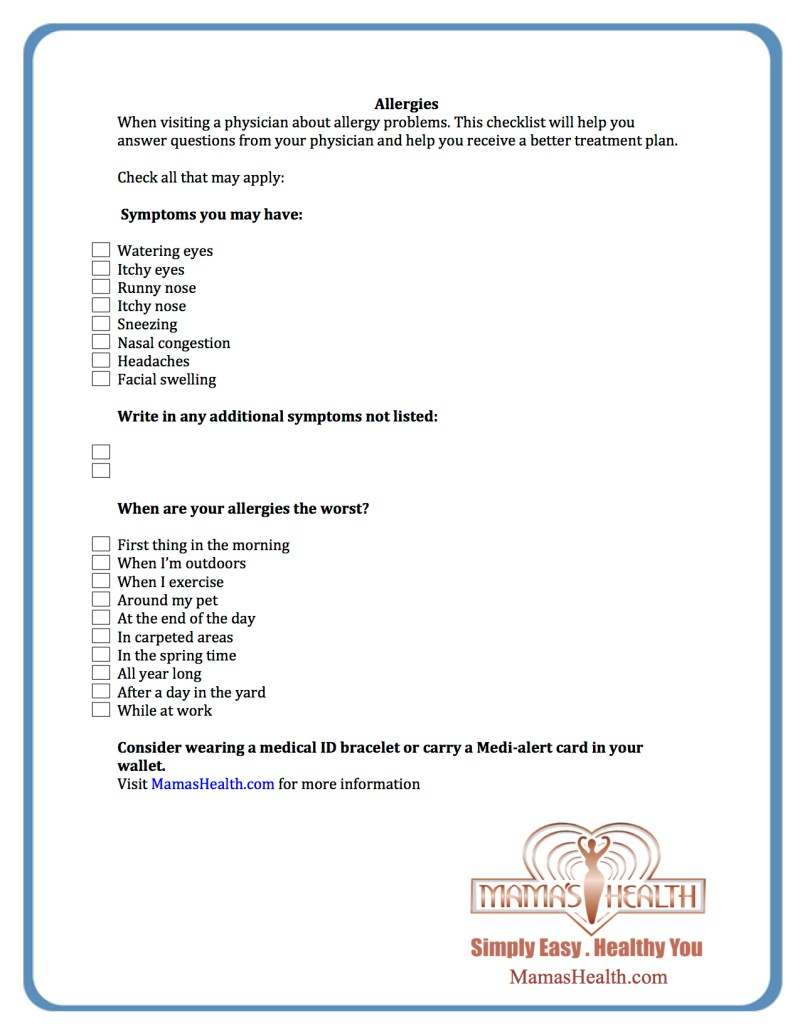 FREE 'ask your doctor allergy checklist' |