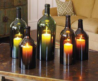 upcycle glass bottle ideas candle holders