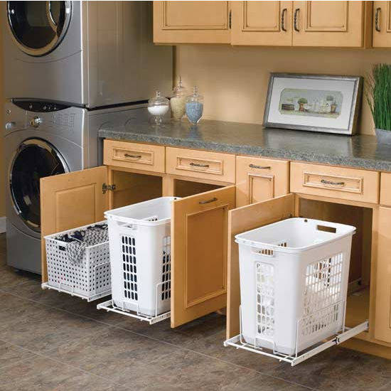 Sliding baskets for laundry integrated into your kitchen cupboards kitchen space savers