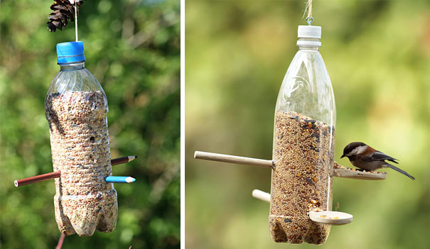 plastic bottle crafts mano mano the handy mano manomano DIY bird feeder