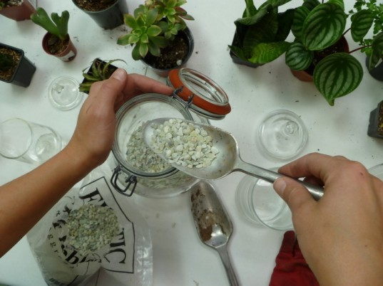 how to make a terrarium the handy mano manomano pouring activated charcoal