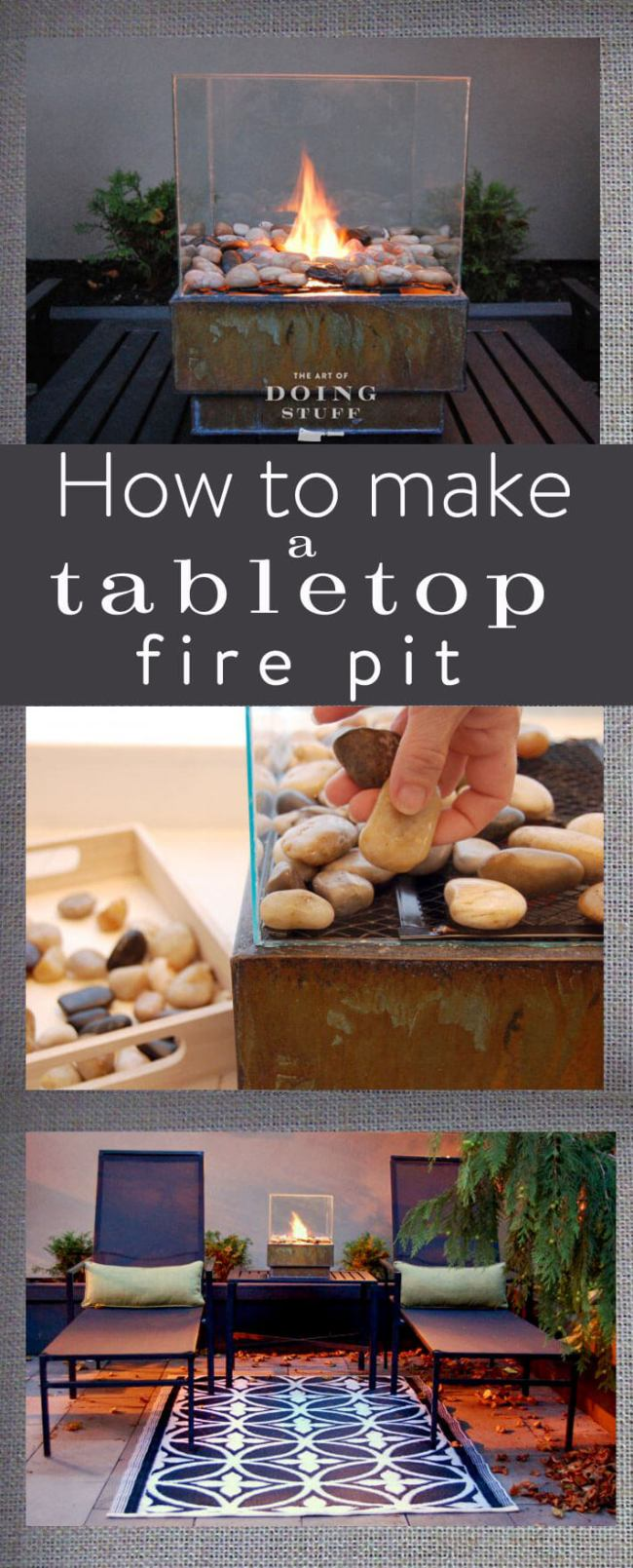 outdoor  DIY fire pit ideas designs how to build the handy mano manomano tabletop pebbles