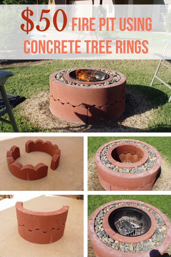 outdoor  DIY fire pit ideas designs how to build the handy mano manomano tree rings pebbles