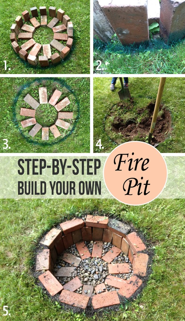 outdoor DIY fire pit ideas designs how to build the handy mano manomano simple easy brick recessed dug
