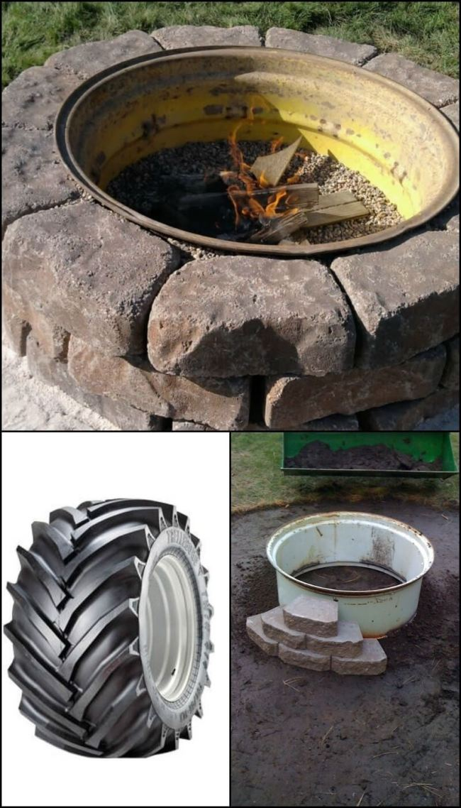 outdoor DIY fire pit ideas designs how to build the handy mano manomano tractor tire rim easy
