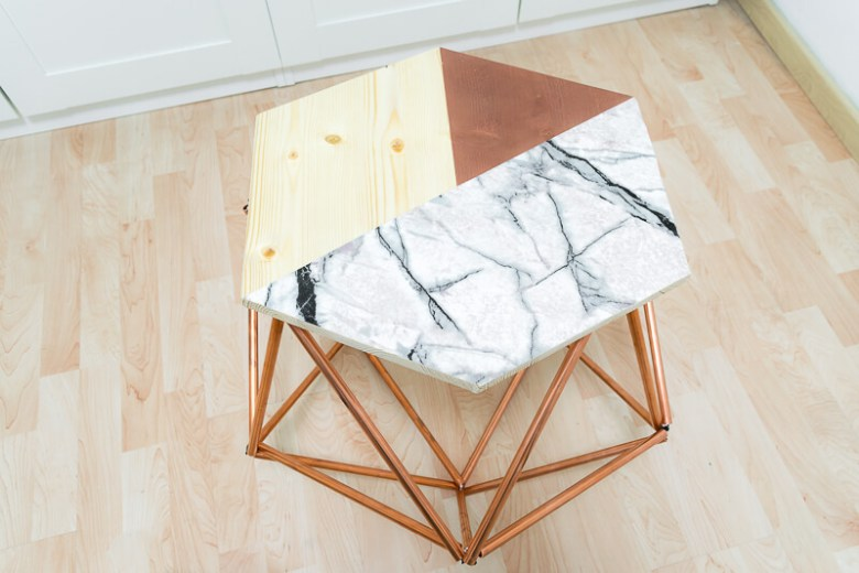 Scandi style table with copper pipes tubing Scandinavian nordic The handy mano manomano complete side table