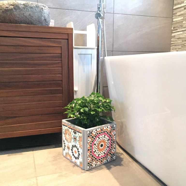 diy do it yourself the handy mano mano mano manomano moroccan style tile tiles cement concrete plant planter botanical mediterranean upcycle budget look for less bathroom bath