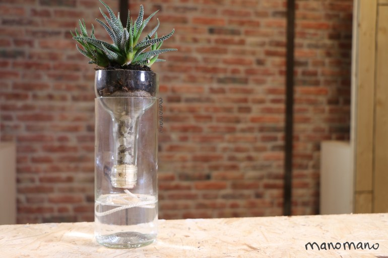 diy indoor planter plant planters self-watering wine bottle easy bottle cutter string