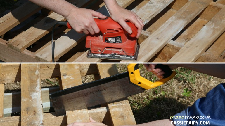 Pallet Cabinet DIY Tutorial thehandymano mano mano cutting planks
