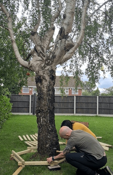 Building the base of the tree bench