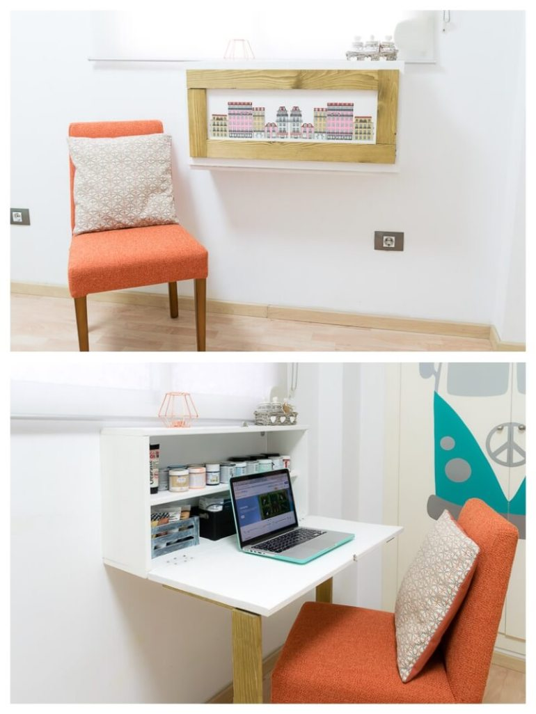 DIY Framed Picture Folding Desk Furniture for Small Spaces design a workspace diy do it yourself the handy mano thehandymano mano mano manomano desk with chair murphy fold down fold away fold up