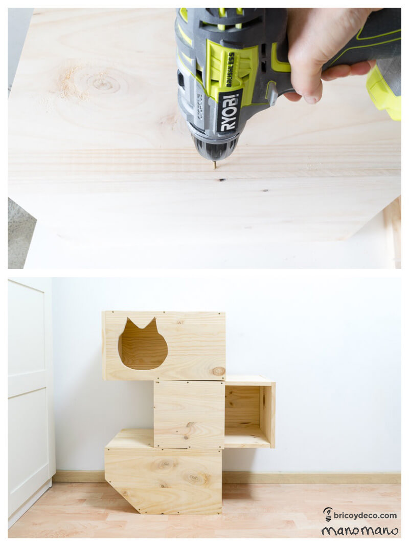 DIY Cat Bed with Scratching Post three story play area manomano mano the handy mano assembly