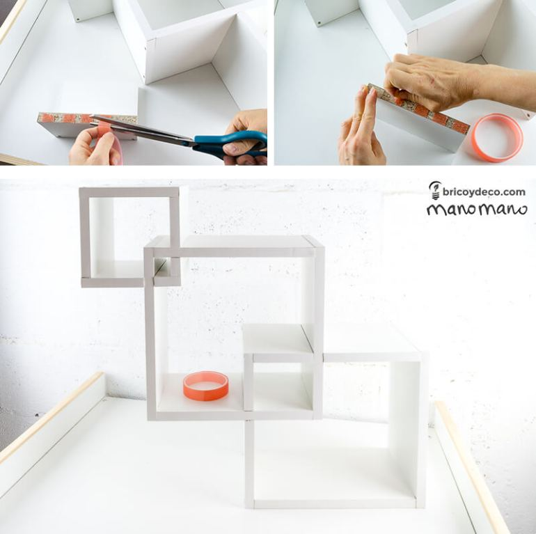 How To Make Intertwining Box Shelves thehandymano handy mano manomano crossover patterned tools materials construction tape