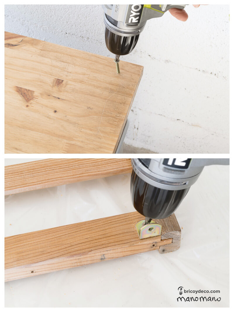 DIY Kids Play Furniture - Miniature Work Bench children childrens play area upcycle transformation screw electric screwdriver bracket