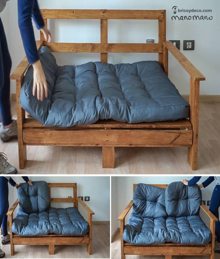thehandymano mano DIY pallet sofa tutorial add cushions