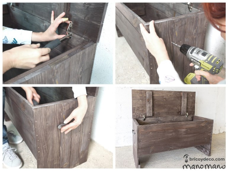 thehandymano mano Outdoor Storage Bench DIY tutorial screw hinges