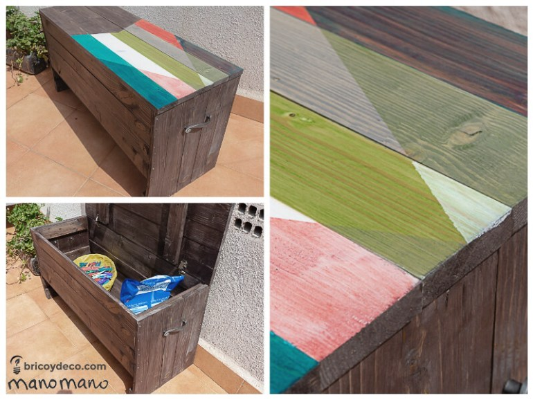 thehandymano mano Outdoor Storage Bench DIY tutorial finished project
