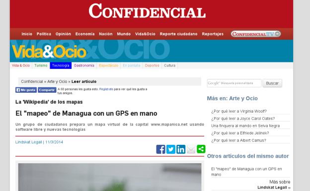 Caputra de pantalla del articulo en confidencial.com.ni