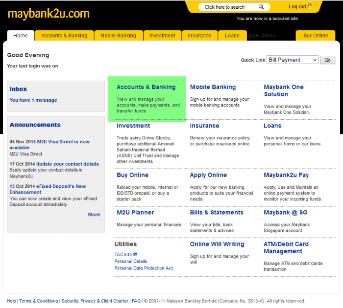 How to pay utility bill using maybank2u - screen 1