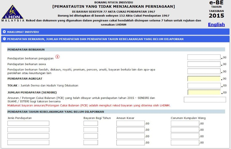 LHDN eFilling Step 6 - Declare Income