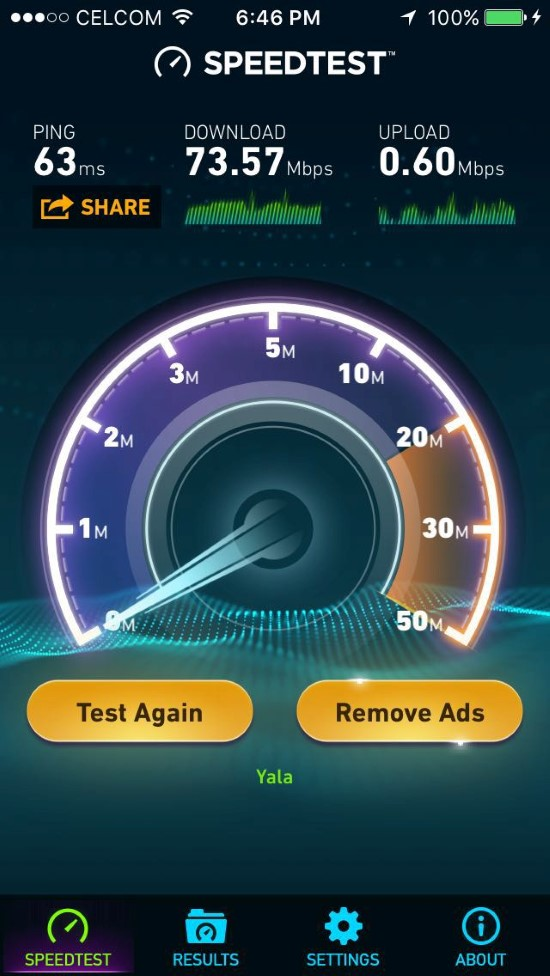 TIME Fibre 100 Mbps iPhone 5S Wifi Connection